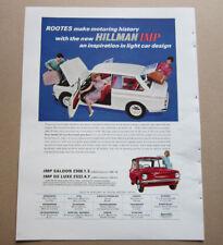 Hillman Imp Saloon De Luxe Single Page Magazine Advert c.1960's
