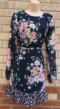 H&M Azul Rosa Floral Dobladillo Volante Mangas largas sin espalda de una línea de Verano Vestido De Té 14