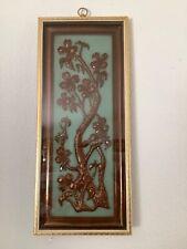 """Vintage Late 1950's """"Yolande� Framed Plastic Floral Picture-Wood Frame-Pre-owned"""