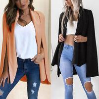 Women Ladies Poncho Cape Coat Jacket Blazer Suit Shawl Cloak Cardigan Outwear