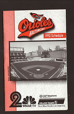 Baltimore Orioles--1992 Pocket Schedule--WMAR/C&P Telephone--Camden Yards
