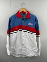 Budweiser Bud Light Men's Vintage Long Sleeve Snap Western Shirt Size L White