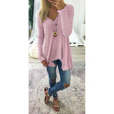 Plus Size Women Long Sleeve Loose Blouse Baggy Tops Holiday V Neck Tunic T Shirt