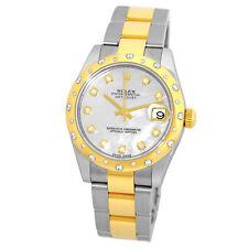 Yellow Gold Datejust Diamond 178343 Warranty Rolex Mid size 31mm Stainless & 18K