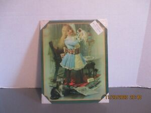 """9 1/2"""" X 12"""" METAL SIGN - VICTORIAN GIRL WITH KITTENS"""