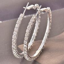 Around 9k white gold filled Around Cubic Zirconia Ladies Hoop Earrings F4531
