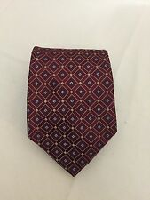 "Nautica Mens Tie Dark Red With Diamond Pattern 100% Silk 59"" Long Necktie"