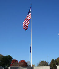 "20' ft. Flagpole Aluminum 1 Pc. 5"" Bottom External Halyard Flag Pole Made In Usa"