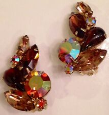 Vintage JULIANA? Weiss? Brown Topaz Colors & AB RS Rhinestone EARRINGS