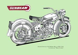 1954 Sunbeam Model S7 500cc OHC Motorcycle poster