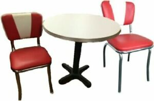 Commercial Retro Table and 2 Chair Set (Polished Aluminum Edge Table)
