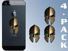 4-Pack 1x2 inch Cell Phone BRONZE Spartan Helmet Shaped Stickers - gun molon war