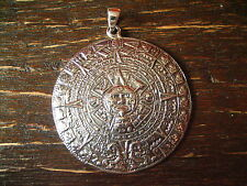 prächtiger großer Anhänger Mayakalender Maya Azteken Kalender 925er Silber 4,5cm