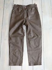 Women's Vintage High Waist Pleated Brown 100% Genuine Leather Trousers W31 L28