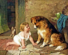 Young Girl With Pet Dog & Cat Playmates Painting Real Canvas Giclee Art Print