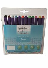 12 Broad Nib Felt Pens Assorted Colours Washable Coloured Fibre Tip Manuscript