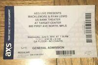 June 8 2016 Macklemore Ryan Lewis Concert Target Center Minneapolis Ticket Stub