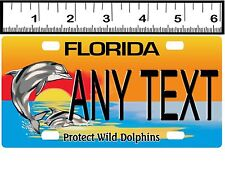 CUSTOM PERSONALIZED ALUM BICYCLE STATE LICENSE PLATE-FLORIDA PROTECT DOLPHINS