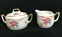 Epiag Czechoslovakia  Floral Porcelain Cream & Sugar Bowl Lid Oval Gold 5522