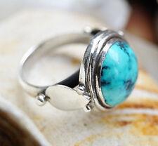 Silberring 53 Türkis Braun Mittelalter Design Handarbeit Ring Silber Verspielt