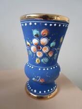 Vintage Alcobaca Portugal Velvet Finish And Hand Painted Gems Ceramic [*206G]