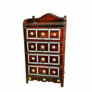 Wooden 4 Rack Drawers Storage Cabinet For Living Room Home Office
