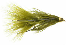 Fly Fishing Flies (Bass, Trout, Salmon) Conehead Rubber Leg Bugger Olive (x 6)