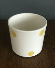 Lovely Vintage Habitat White with Yellow Polka Dot Flower Plant Pot Planter vgc