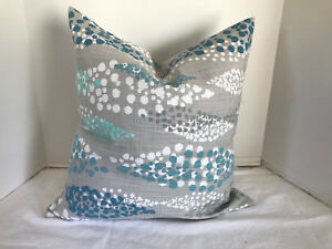 Pillow Cover Gray Teal Mint White Abstract Custom Made Choose Size Accent Decor