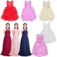Kid Princess Wedding Dress Flower Girls Gown Bridesmaid Graduation Pageant Party