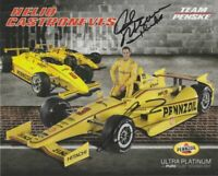 2014 Helio Castroneves + Rick Mears signed Pennzoil Chevy Indy 500 postcard