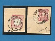 Pr Vor / GÜTERSLOH 6.3.73 + 24.1.75, je K2 auf 2 gr. Kabinett-Briefstücken m. DR