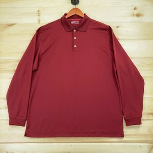 Nike Golf Fit Dry Polo Shirt Mens Large Long Sleeve Red Solid Casual Swoosh