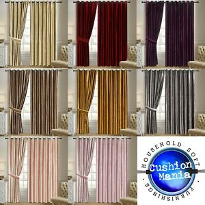 Curtains Plain Velvet Ready made fully Lined Eyelet Ring Top Shiny Heavy