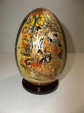 "Vintage Porcelain Satsuma EGG 5.25"" Hand Painted Geshias Rose Wood Stand"