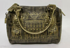 Fendi Zucca Coated Canvas & Leather Boston Bag Gold Metallic Palazzo Print RARE
