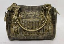 Fendi Zucca Coated Canvas & Leather Boston Bag Gold Metallic Palazzo Print RARE