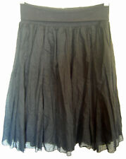 Ladies Womens Black Cotton Full Skirt Stretch Fold Over Waist Now Size 8  BNWT