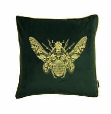 """FILLED EMBROIDERED BUMBLE BEE EMERALD GREEN GOLD VELVET PIPED 20"""" - 50CM CUSHION"""