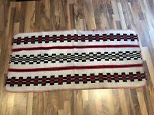 "Vintage Western Saddle Horse Blanket White Black Red Wool Reversible 28""x 58"""