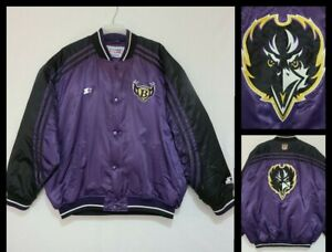 Vintage Ravens Pro Line Starter Satin Jacket/Coat Size 2XL Snap Closure