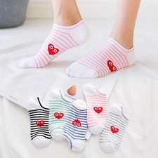 5 Pairs Womens Cotton Low Cut Ankle Socks Heart Casual Boat Socks Lady Gift