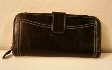 Women's Mossimo Faux Leather  Zip Around Wallet with Magnetic Closure Black