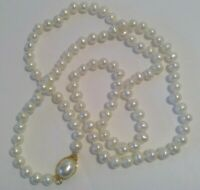 "Vintage White Faux Pearl Necklace 24"" with Pearl Gold Tone Locking Clasp Costume"