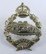 WW2 Canadian Tank Corps White Metal Cap Badge - 2 Lugs to Rear - KC