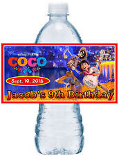 20 DISNEY COCO BIRTHDAY PARTY FAVORS WATER BOTTLE LABELS ~ waterproof ink