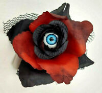 Eyeball Rose Hair Clip Large Barrette Bow Gothic Goth Horror Black Red Flower