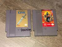 Zelda II 2 & Ninja Gaiden 2 Game Lot Nintendo Nes Cleaned & Tested Authentic