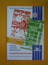 Schoolboy International - England v Italy - 6th June 1992 + 2 Match Tickets