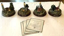 4 Thomas Kinkade Lighted Lighthouses With Coas 5� Tall 5� Diameter Cottages